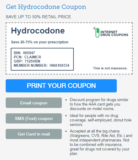 Hydrocodone Coupon from the Internet