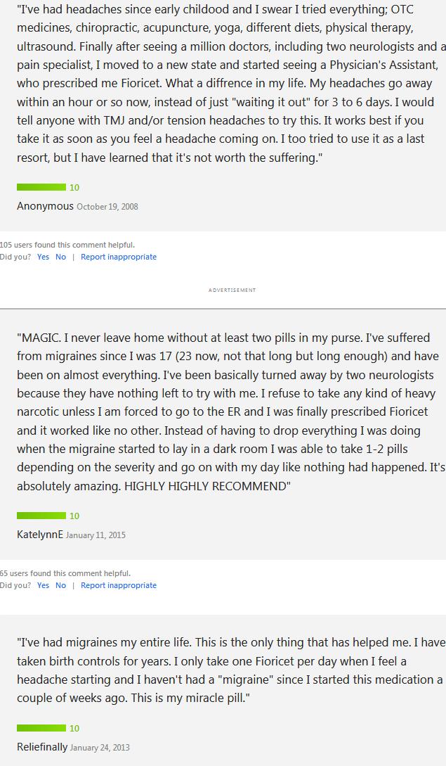 Fioricet Customer Reviews