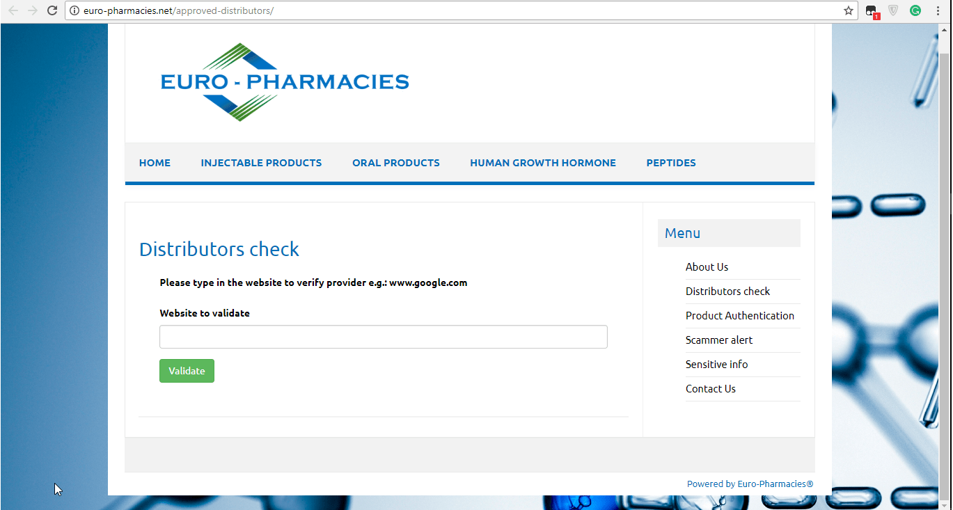 Euro Pharmacies Distributor Check